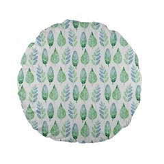 Green Watercolour Leaves Pattern Standard 15  Premium Flano Round Cushions by TanyaDraws