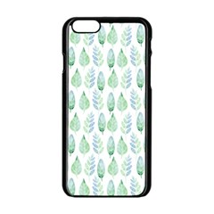 Green Watercolour Leaves Pattern Apple Iphone 6/6s Black Enamel Case by TanyaDraws