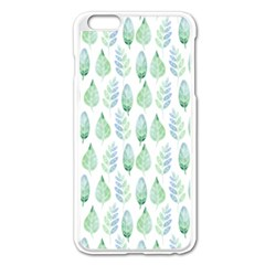 Green Watercolour Leaves Pattern Apple Iphone 6 Plus/6s Plus Enamel White Case by TanyaDraws