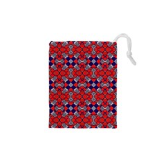 Geometric Pattern Red And Gray, Blue Drawstring Pouches (XS)  by Cveti