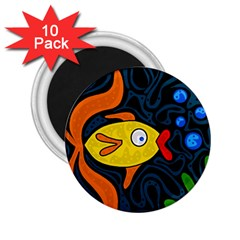 Yellow fish 2.25  Magnets (10 pack)  by Valentinaart