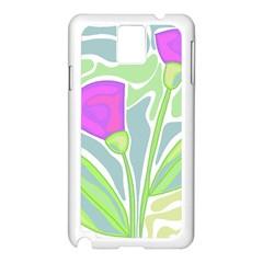 Purple Flowers Samsung Galaxy Note 3 N9005 Case (white) by Valentinaart