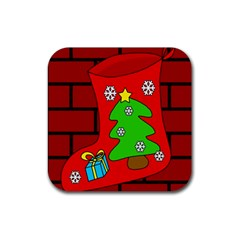 Christmas Sock Rubber Coaster (square)  by Valentinaart