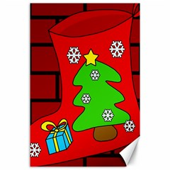 Christmas Sock Canvas 24  X 36  by Valentinaart