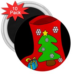 Christmas Sock 3  Magnets (10 Pack)  by Valentinaart