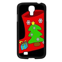 Christmas Sock Samsung Galaxy S4 I9500/ I9505 Case (black) by Valentinaart