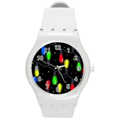 Christmas Light Round Plastic Sport Watch (m) by Valentinaart
