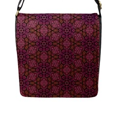 Fuchsia Abstract Shell Pattern Flap Messenger Bag (l)  by TanyaDraws