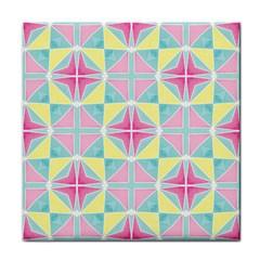 Pastel Block Tiles Pattern Tile Coasters by TanyaDraws