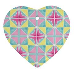 Pastel Block Tiles Pattern Heart Ornament (2 Sides) by TanyaDraws