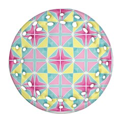 Pastel Block Tiles Pattern Round Filigree Ornament (2side) by TanyaDraws