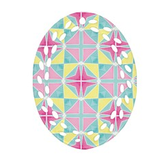 Pastel Block Tiles Pattern Oval Filigree Ornament (2 Side)  by TanyaDraws
