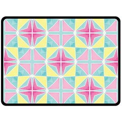 Pastel Block Tiles Pattern Double Sided Fleece Blanket (large)  by TanyaDraws