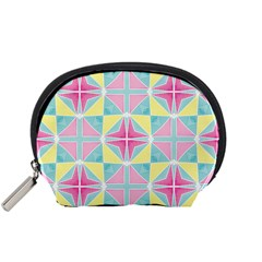 Pastel Block Tiles Pattern Accessory Pouches (small)  by TanyaDraws
