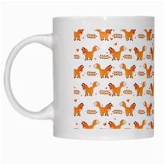 Fox And Laurel Pattern White Mugs by TanyaDraws