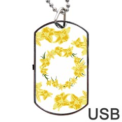 Daffodils Illustration  Dog Tag USB Flash (Two Sides)  by vanessagf