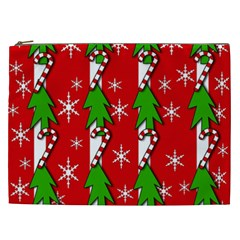 Christmas Tree Pattern   Red Cosmetic Bag (xxl)  by Valentinaart