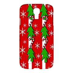 Christmas Tree Pattern   Red Samsung Galaxy S4 I9500/i9505 Hardshell Case by Valentinaart