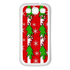 Christmas Tree Pattern   Red Samsung Galaxy S3 Back Case (white) by Valentinaart
