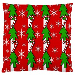 Christmas Tree Pattern   Red Large Flano Cushion Case (two Sides) by Valentinaart