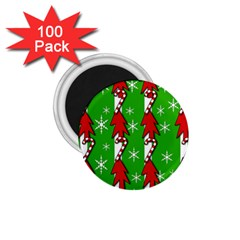 Christmas Pattern   Green 1 75  Magnets (100 Pack)  by Valentinaart