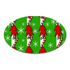 Christmas Pattern   Green Oval Magnet by Valentinaart