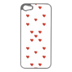 Cute Hearts Motif Pattern Apple Iphone 5 Case (silver) by dflcprints