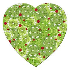 Green Christmas decor Jigsaw Puzzle (Heart) by Valentinaart