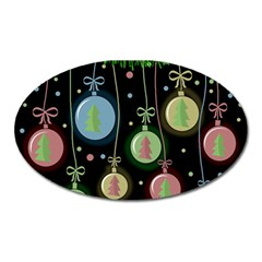 Christmas Balls   Pastel Oval Magnet by Valentinaart