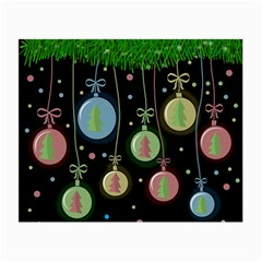 Christmas Balls   Pastel Small Glasses Cloth by Valentinaart