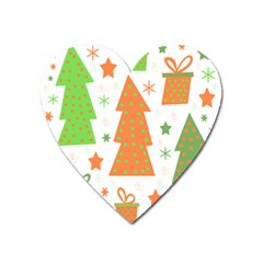Christmas Design   Green And Orange Heart Magnet by Valentinaart
