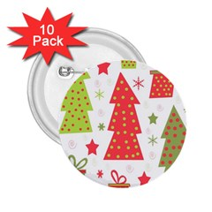 Christmas Design   Green And Red 2 25  Buttons (10 Pack)  by Valentinaart