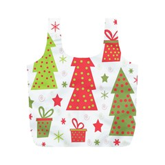 Christmas Design   Green And Red Full Print Recycle Bags (m)  by Valentinaart