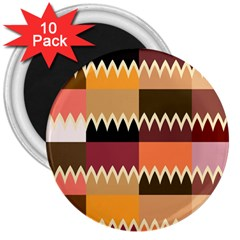 Chevrons In Squares                                                                                                 3  Magnet (10 Pack) by LalyLauraFLM
