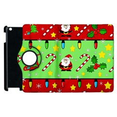 Christmas Pattern   Green And Red Apple Ipad 2 Flip 360 Case by Valentinaart
