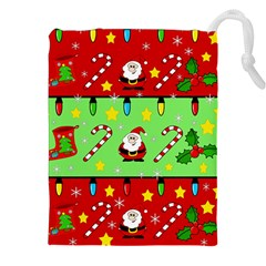 Christmas Pattern   Green And Red Drawstring Pouches (xxl) by Valentinaart