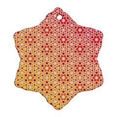 Orange Ombre Mosaic Pattern Snowflake Ornament (2 Side) by TanyaDraws