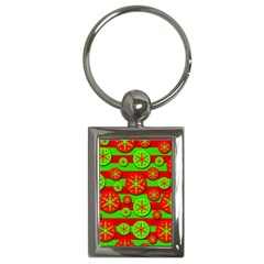 Snowflake Red And Green Pattern Key Chains (rectangle)  by Valentinaart