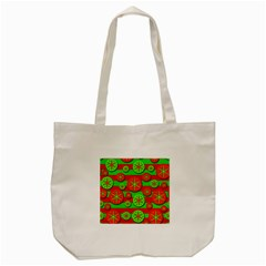 Snowflake Red And Green Pattern Tote Bag (cream) by Valentinaart