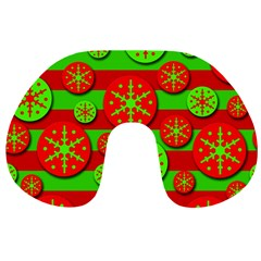 Snowflake Red And Green Pattern Travel Neck Pillows by Valentinaart