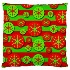 Snowflake Red And Green Pattern Large Flano Cushion Case (one Side) by Valentinaart