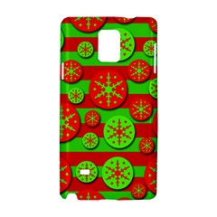Snowflake Red And Green Pattern Samsung Galaxy Note 4 Hardshell Case by Valentinaart