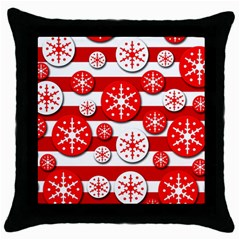 Snowflake Red And White Pattern Throw Pillow Case (black) by Valentinaart