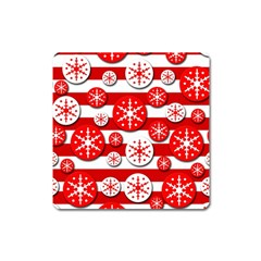 Snowflake Red And White Pattern Square Magnet by Valentinaart
