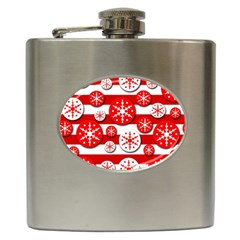Snowflake red and white pattern Hip Flask (6 oz) by Valentinaart