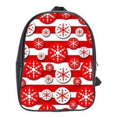 Snowflake Red And White Pattern School Bags(large)  by Valentinaart