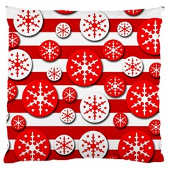 Snowflake Red And White Pattern Large Cushion Case (one Side) by Valentinaart