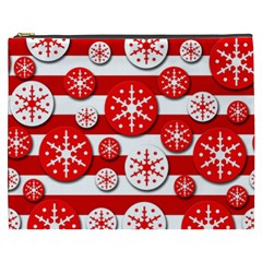 Snowflake Red And White Pattern Cosmetic Bag (xxxl)  by Valentinaart
