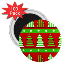 Christmas Trees Pattern 2 25  Magnets (100 Pack)  by Valentinaart