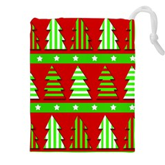 Christmas trees pattern Drawstring Pouches (XXL) by Valentinaart